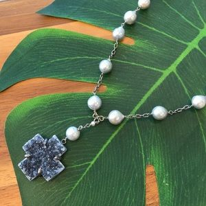 CHAN LUU Pearl and Druzy Necklace